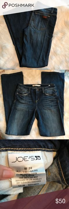 """JOE'S VISIONAIRE JEANS Cute and stylish great dressed up or down! Excellent pre-owned condition. 98% cotton/ 2% elastan. 33"""" inseam Joe's Jeans Jeans Flare & Wide Leg"""