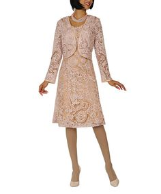 Love this Champagne Lace Scoop Neck Dress & Jacket - Women & Plus on #zulily! #zulilyfinds