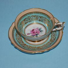 Vintage aqua and gold dinnerware | Vintage Paragon Aqua Tea Cup and Saucer with Rose Fine Bone China HM ...