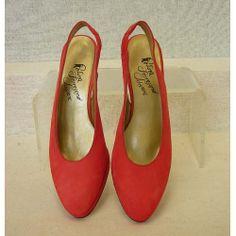 Vintage 1980s Red Suede Sling Back High Heel Pumps by atomickatz, $32.00