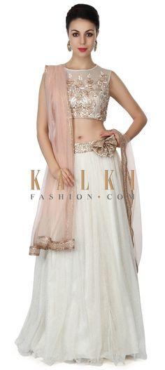Buy this White shimmer lehenga with embellished blouse only on Kalki