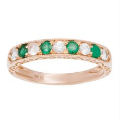 Viducci 10k Gold Emerald and White Sapphire Vintage Style Band (Rose Gold - size 6), Women's, Green