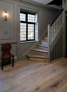 Oak Tate with its band-sawn texture, works well in a traditional or modern setting. Style At Home, Halls, Georgian Homes, Timber Flooring, Hardwood Floors, Architecture, Stairways, My Dream Home, Planer