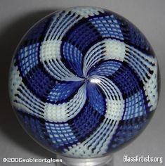 Blue & White - Glass Ball - by Josh Sable