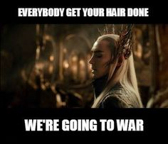 Someone turn on my flat iron! <<< *pulls up hair with new hair clip, gets ready to go to war with Thranduil* <<< *half way through battles* shit i left my straighteners on. Thranduil: fuck it at least your hair looks flawless. Martin Freeman, Teaser, Jackson, O Hobbit, Hobbit Humor, Hobbit Funny, J. R. R. Tolkien, Funny Memes, Hilarious