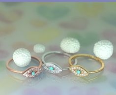 Turquoise Evil Eye Ring/Cubic  Zirconia  in gold.3 by SweetrainArt, $18.00