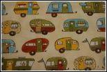 T138 Vintage RV Motor Home Travel Trailer Winebago Windstream Cotton Fabric Quilt Fabric