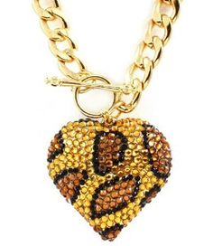 Leopard, Zebra, Animal Print Crystal Double Sided Puffer Heart Toggle Necklace by Jersey Bling (A): Jewelry: Amazon.com