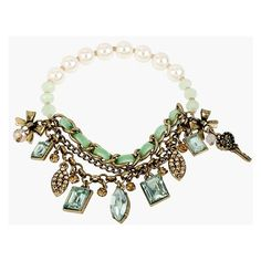 Betsey Johnson 'Mint Multi' Faux Pearl Charm Bracelet ($37) found on Polyvore