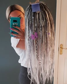 Ombre silver white platinum blonde synthetic dreadlocks extensions in 2020 Half Dreads, Partial Dreads, Dreadlock Extensions, Braids With Extensions, African Braids Hairstyles, Dreadlock Hairstyles, Blonde Hairstyles, Dreads Styles For Women, Long Hair Styles