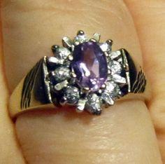 Gorgeous Amethyst and Diamond Ring in 9k by LobeliaBlueJewellery, £99.00