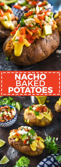 Nacho Baked Potatoes Host The Toast Nacho Baked Potatoes Host The Toast Chels Wilson Yummm Nacho Baked Potatoes These fluffy russets are loaded up nbsp hellip Sauce microwave Stuffed Baked Potatoes, Loaded Baked Potatoes, Queso Cheese, Baked Cheese, Baked Nachos, Homemade Cheese Sauce, Potatoes In Microwave, Loaded Sweet Potato, Serious Eats