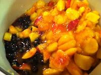 Blueberry Peach preserve - Use 2 cups frozen or fresh blueberries and 4 cups peaches. Use 2 cups of sugar, 3 T. bottles lemon juice and 4 1/2 T. Ball Flex Batch no sugar/low sugar pectin. Follow the same process as the peach preserve and enjoy!