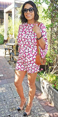Last Night's Look: Love It or Leave It? Vote Now! | ROSARIO DAWSON | in a carnation-pink leaf print romper with bell sleeves, cap-toe heels and an embroidered purse at the Maison de Mode Oscar week lunch