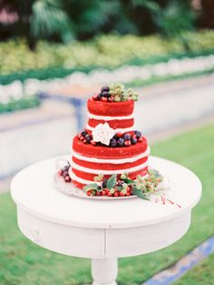 Patriotic naked cake: http://www.stylemepretty.com/2015/07/04/the-prettiest-red-white-blue-wedding-details/