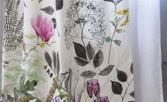 "Designers Guild Fabrics, ""Mokuren"" White, Grey Pink, Printed Cotton Curtain Fabric, Light Upholstery Fabric From Jane Hall Design"