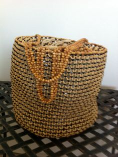 Resort open weave wood beaded handbag with by AsianPacificCo