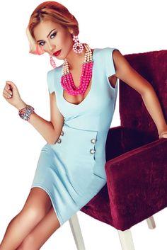 Baby Blue Button Detail Short Office Dress