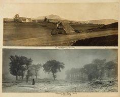 """Félix THIOLLIER, """"Le Mezenc (Haute Loire)/ Plaine du Forez (Loire)"""", vers 1900. Deux épreuves. Photographie tirée sur papier baryté au gélatino-argentique collée sur carton. Photo haut : 15 x 39,5 cm. bas : 39,7 x 39,7cm. Dimensions du support carton : 34,1 x 42,8 cm. Achat Monsieur Michel Mazoyer en 1993. © DP."""