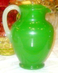 Steuben Glass Values | Steuben Glass; Pitcher, Jade Green, Opal Handle, 10 inch.