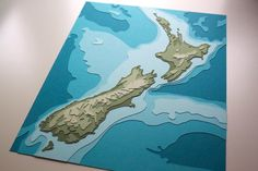 New Zealand Topography 8 x 10 layered papercut art by Crafterall