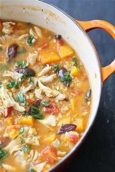 Hearty Chicken Stew with Butternut Squash & Quinoa  * 1 1/2 lb. butternut squash * 3 1/2 cups chicken broth  * 1 1/2 lb.  chicken thighs  * 1 tbsp olive oil  * 1 medium yellow onion  * 1/2 tsp kosher salt  * 4 cloves garlic, minced  * 1 1/2 tsp dried oregano  * 1 can (14 oz) petite diced tomatoes  * 2/3 cup uncooked quinoa  * Freshly ground black pepper, to taste      * 1/4 cup minced fresh flat-leaf parsley