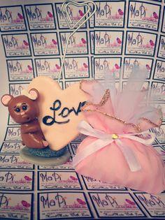 Bomboniera topina topini love cuore primo compleanno portafoto handmade polymer Clay sacchetto rosa confetti pietra dura mapi Creations