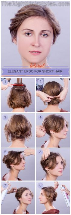 How To: Elegant Updo For Short Fine Hair curly updo for short hair tutorial Short Hairstyles Fine, Haircuts For Fine Hair, Diy Hairstyles, Simple Hairstyles, Updo Hairstyle, Ponytail Hairstyles, Hairstyles Videos, Hairstyles 2018, Short Curly Hair