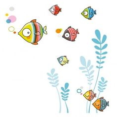 Sticker la famille bubulles This bubulles family sticker from the Golo-Series brand brings a playful Family Stickers, Wall Stickers, Mural Art, Wall Murals, Drawing For Kids, Art For Kids, Sea Creatures Drawing, Decoration Creche, Doodle Wall
