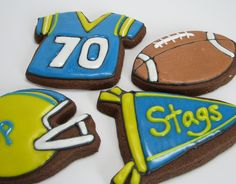 A little nostalgia for my high school football team! Football Cookies, Fall Cookies, Cut Out Cookies, Sugar Cookies, High School Football, Game Day Food, Dessert Recipes, Desserts, No Bake Cake