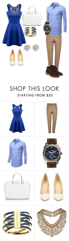 """Dinner with bae"" by trillest03 ❤ liked on Polyvore featuring Chicnova Fashion, River Island, FOSSIL, Michael Kors, Christian Louboutin and Topshop"
