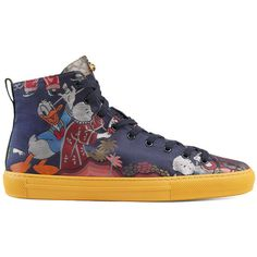 Gucci Donald Duck Jacquard High-Top Sneaker (9.350 ARS) ❤ liked on Polyvore featuring men's fashion, men's shoes, men's sneakers, men, shoes, sneakers, mens red shoes, gucci mens sneakers, mens high top shoes and mens green shoes