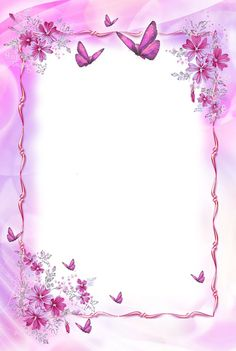 Beautiful Pink Transparent Frame with Butterflies