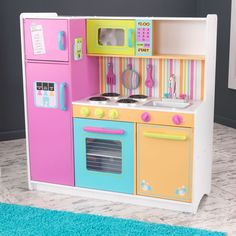 KidKraft 53100 Deluxe Big and Bright Wooden Pretend Play Toy Kitchen for Kids - Multicolor for sale online Kitchen Sets For Kids, Kids Play Kitchen, Toy Kitchen, Wooden Kitchen, Kitchen Hacks, Kidkraft Kitchen, Cooking Toys, Pretend Kitchen, Multiplication For Kids
