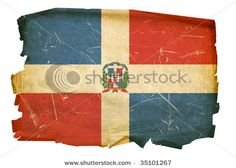 Antique-looking Dominican Flag for destination wedding decor.