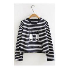 Yoins Stripe Eye Pattern Short Length Sweatshirt ($29) ❤ liked on Polyvore featuring tops, hoodies, sweatshirts, long sleeve tops, print sweatshirt, print top, striped long sleeve top and patterned sweatshirt