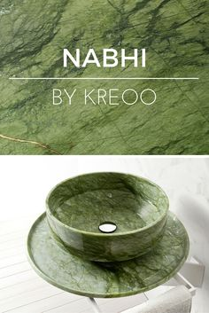 """""""Nabhi Bowl no. 2"""" luxury, wall mounted sink in Verde (Green) Ming marble by…"""