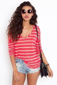 Stitched Stripe Knit - Coral