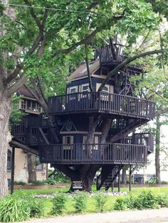 Best DIY Tree House Plans to Make Your Childhood or Adulthood Dream a Reality Beautiful Tree Houses, Beautiful Homes, Cool Tree Houses For Kids, Cool Houses, Modern Playhouse, Tree House Plans, Tree House Homes, Diy Tree House, Picture Tree