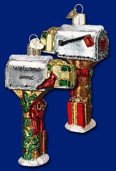 Welcome Home Mailbox (32079) Old World Christmas Glass Ornament