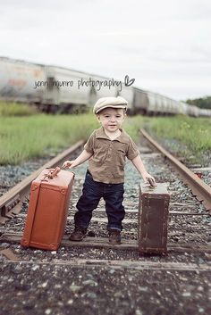 childrens portrait train tracks, vintage, luggage, hat