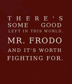 There's some good left in this world Mr. Frodo and it's worth fighting for.