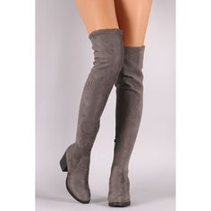 Bamboo Suede Stitchwork Chunky Heeled Riding OTK Boots ($62) ❤ liked on Polyvore featuring shoes, boots, over-knee boots, side zipper boots, suede thigh-high boots, side zip boots and suede boots