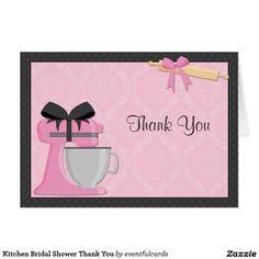 Kitchen Bridal Shower Thank You Card