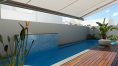Melbourne Awning Centre supplied and installed multiple Folding Arm Awnings to provided shade over the pool area and internal courtyard of this residence.