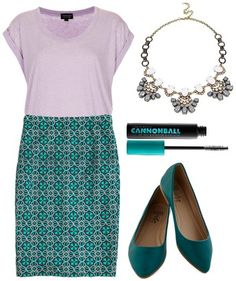 Lilac tee, teal print skirt, teal flats, statement necklace