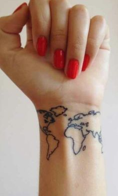 Cute world map tattoo color in each continent or country that you have been to