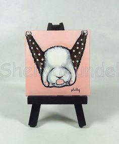 Original Mini Painting, Ferret Sleeping in a Hammock, Shelly Mundel Art #FerretArt