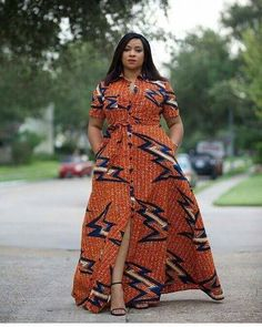 Orange African Print Dress/African Print Dress/African Clothing/African Fashion/African Maxi Dress/A Latest African Fashion Dresses, African Dresses For Women, African Print Dresses, African Print Fashion, Africa Fashion, African Attire, African Wear, African Style, African Shirt Dress