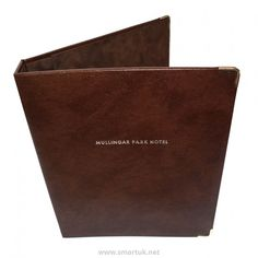 Bonded Leather Guest Room Folders - The Smart Marketing Group - Hospitality. Luxury hotel guest room presentation and welcome folders for hotel and hospitality. Leather Folder, Hotel Guest, Park Hotel, Natural Tan, Bonded Leather, Restaurant Design, Hospitality, Guest Room, Menu Covers